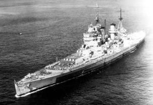 HMS King George V on passage for Tokyo Bay